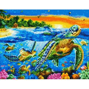 "QА202627 Алмазная мозаика на подрамнике ""Черепахи в океане"", 40х50 см"