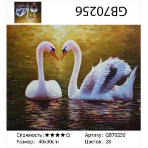 "АМ34 GB70256 алмазная мозаика  ""Два лебедя на коричневой воде"", 30х40 см"
