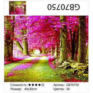 "АМ34 GB70750 алмазная мозаика ""Розовая аллея"", 30х40 см"