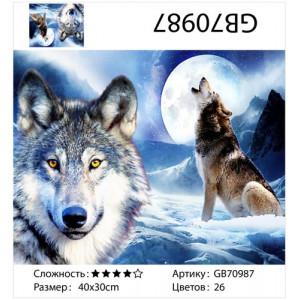 """АМ34 GB70987 алмазная мозаика """"Два волка"""", 30х40 см"""