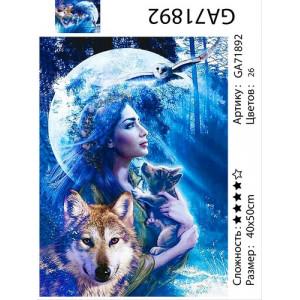 "АМ34 GB71892 алмазная мозаика ""Девушка с волчонком на фоне луны"", 30х40 см"