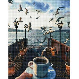 "QА202637 Алмазная мозаика на подрамнике ""Утро с чайками"", 40х50 см"