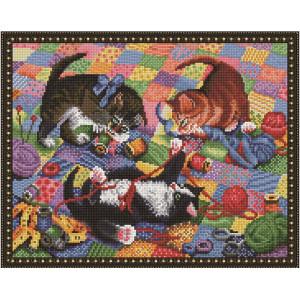"NА109 Алмазная мозаика на подрамнике ""Игривые котята"", 40х50 см"