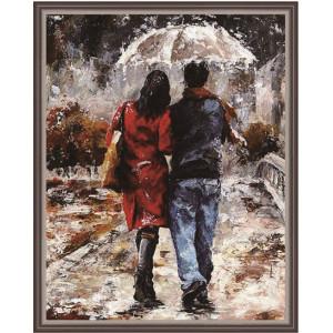 """QА201392 Алмазная мозаика на подрамнике """"Прогулка под дождем"""", 40х50 см"""