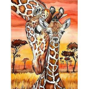 """QА201393 Алмазная мозаика на подрамнике """"Жирафы"""", 40х50 см"""