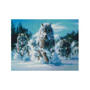 L352 Волчья стая алмазная мозаика 40х50см квадратные стразы