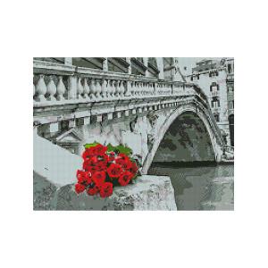 L469 Цветы у моста алмазная мозаика 40х50см квадратные стразы