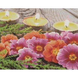 """UА113 Алмазная мозаика на подрамнике """"Цветы и свечи"""", 40х50 см"""