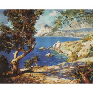 """Алмазная мозаика на подрамнике UА114 """"Дерево на скалистом берегу"""", 40х50 см"""