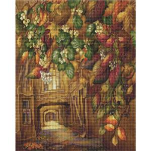 """UА115 Алмазная мозаика на подрамнике """"Осенний дворик"""", 40х50 см"""