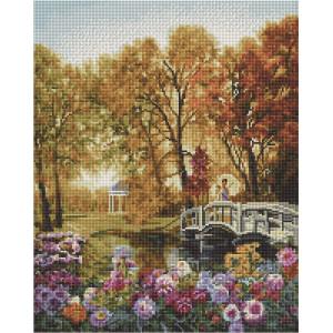 """UА116 Алмазная мозаика на подрамнике """"Дама в парке у озера"""", 40х50 см"""