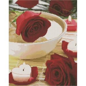 """UА117 Алмазная мозаика на подрамнике """"Свечи и розы"""", 40х50 см"""