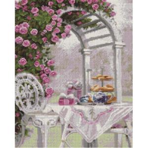 """UА119 Алмазная мозаика на подрамнике """"Столик у цветочной арки"""", 40х50 см"""
