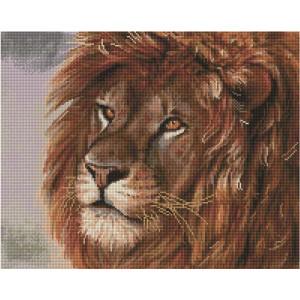 """UА125 Алмазная мозаика на подрамнике """"Величественный лев"""", 40х50 см"""