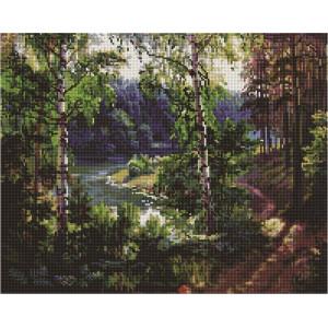 """Алмазная мозаика на подрамнике UА126 """"Березы на склоне у реки"""", 40х50 см"""