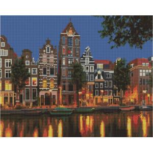 """UА127 Алмазная мозаика на подрамнике """"Отражение ночного города"""", 40х50 см"""