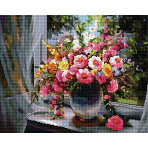 Алмазная мозаика, 40х50, квадратные стразы GF 1307 Розы на окне