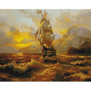 """UА133 Алмазная мозаика на подрамнике """"Парусник на закате"""", 40х50 см"""