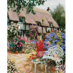 """UА139 Алмазная мозаика на подрамнике """"Цветущий сад у дома"""", 40х50 см"""