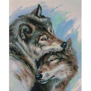 """UА140 Алмазная мозаика на подрамнике """"Влюбленная пара волков"""",   40х50 см"""