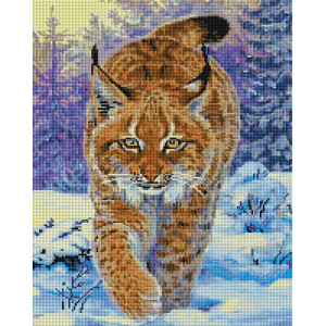 "UА142 Алмазная мозаика на подрамнике ""Рысь в зимнем лесу"", 40х50 см"