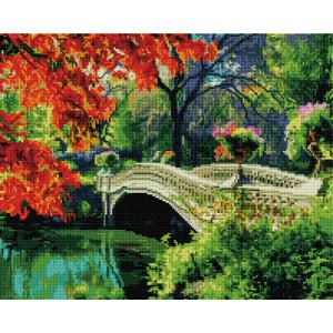 Алмазная мозаика, 40х50, квадратные стразы GF 1497 Осенний парк