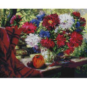 "UА154 Алмазная мозаика на подрамнике ""Натюрморт с астрами"", 40х50 см"