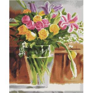 """GF1635 Алмазная мозаика на подрамнике """"Букет цветов в вазе"""", 40х50 см"""