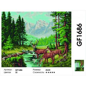 """Алмазная мозаика на подрамнике GF1686 """"Олени у горной реки"""" , 40х50 см"""