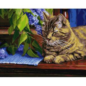 """UА183 Алмазная мозаика на подрамнике """"Дремлющий кот и сирень"""" 40х50 см"""