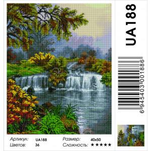 """UА188 Алмазная мозаика на подрамнике """"Деревья у водопада"""" 40х50 см"""