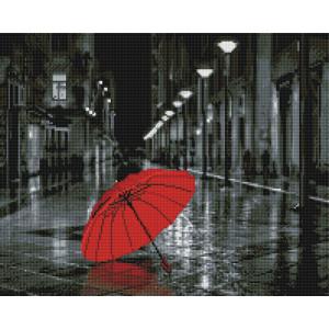Алмазная мозаика, 40х50, квадратные стразы GF 1920 Красный зонт