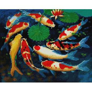 """UА181 Алмазная мозаика на подрамнике """"Рыбки кои"""" 40х50 см"""