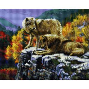 """UА178 Алмазная мозаика на подрамнике """"Волки на горе"""" 40х50 см"""