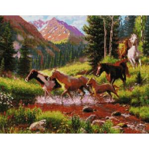 """UА174 Алмазная мозаика на подрамнике """"Лошади в горах"""" 40х50 см"""