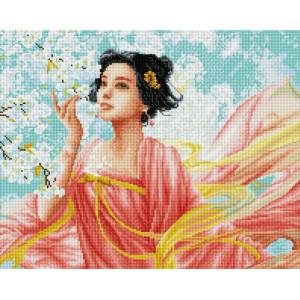 """UА172 Алмазная мозаика на подрамнике """"Девушка и цветущая сакура"""" 40х50 см"""