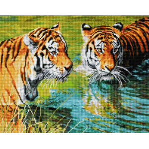 "UА170 Алмазная мозаика на подрамнике ""Тигры в реке"" 40х50 см"