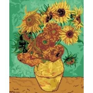 "GF222 Алмазная мозаика на подрамнике ""Подсолнухи"", худ. Ван Гог, 40х50 см"