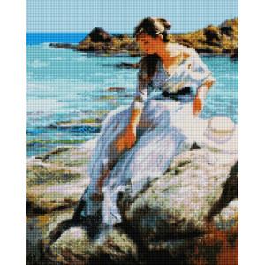 """UА169 Алмазная мозаика на подрамнике """"Девушка у моря"""", 40х50 см"""