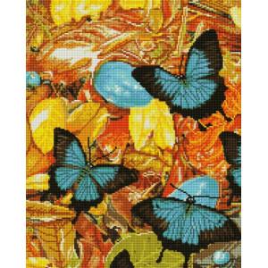 "UА165 Алмазная мозаика на подрамнике ""Голубые бабочки"", 40х50 см"