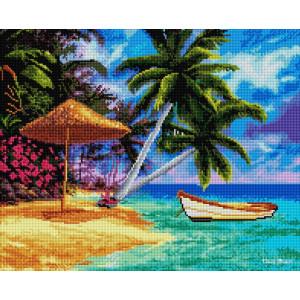 """UА162 Алмазная мозаика на подрамнике """"Лодка на тропическом острове"""", 40х50 см"""