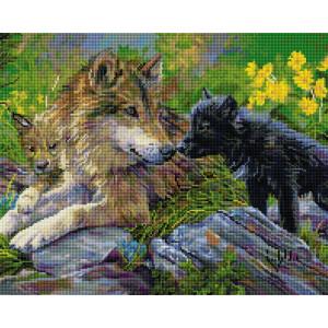 """UА156 Алмазная мозаика на подрамнике """"Волчица с волчатами"""", 40х50 см"""
