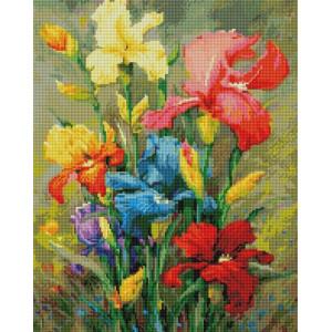 """UА153 Алмазная мозаика на подрамнике """"Разноцветные ирисы"""", 40х50 см"""