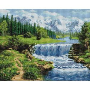 Алмазная мозаика, 40х50, квадратные стразы GF 3903 Бурная река