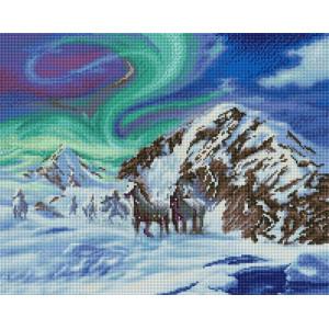 """Алмазная мозаика на подрамнике UА197 """"Табун в снежных горах"""" 40х50 см"""
