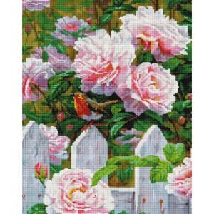 """Алмазная мозаика на подрамнике UА187 """"Птичка у куста роз"""" 40х50 см"""