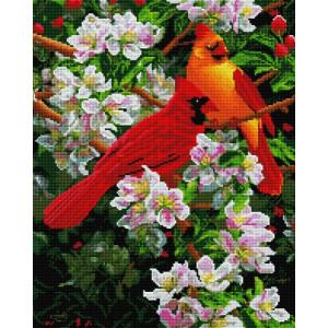 """Алмазная мозаика на подрамнике UА157 """"Яркие птички на яблоне"""", 40х50 см"""