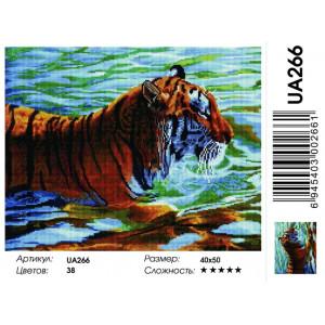 """UA266 Алмазная мозаика на подрамнике """"Тигр в реке"""",   40х50 см"""