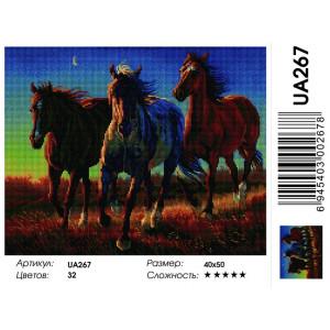 "UA267 Алмазная мозаика на подрамнике ""Кони в степи"",   40х50 см"