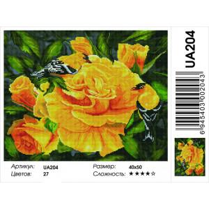 """UА204 Алмазная мозаика на подрамнике """"Птички на чайной розе"""" 40х50 см"""